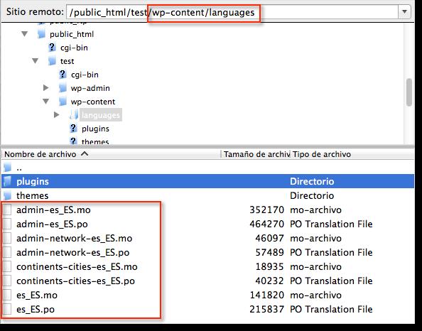 archivos traduccion wordpress